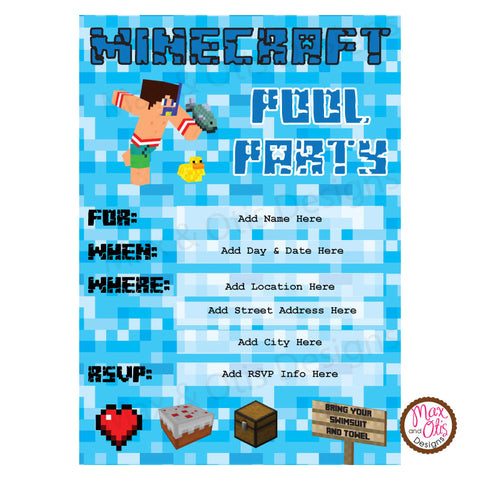 Minecraft pool party invitation editable pdf max otis designs minecraft pool party invitation editable pdf max otis designs stopboris Choice Image
