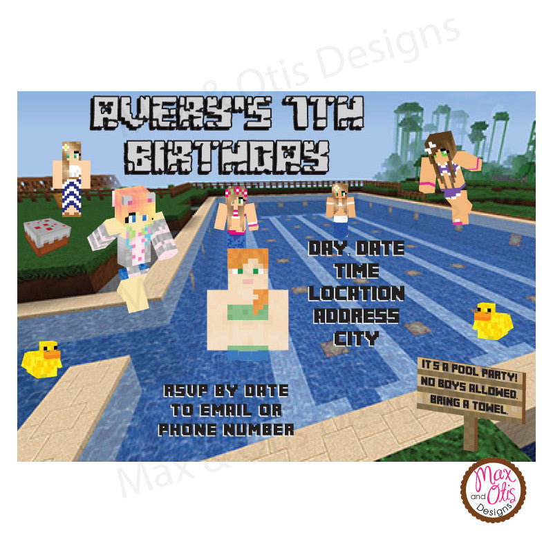 Minecraft Pool Party (Girls Only) - Custom Invitation printable - Max & Otis Designs