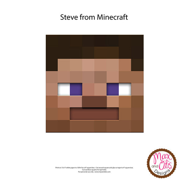 Minecraft Steve Printable Box Head - Max & Otis Designs