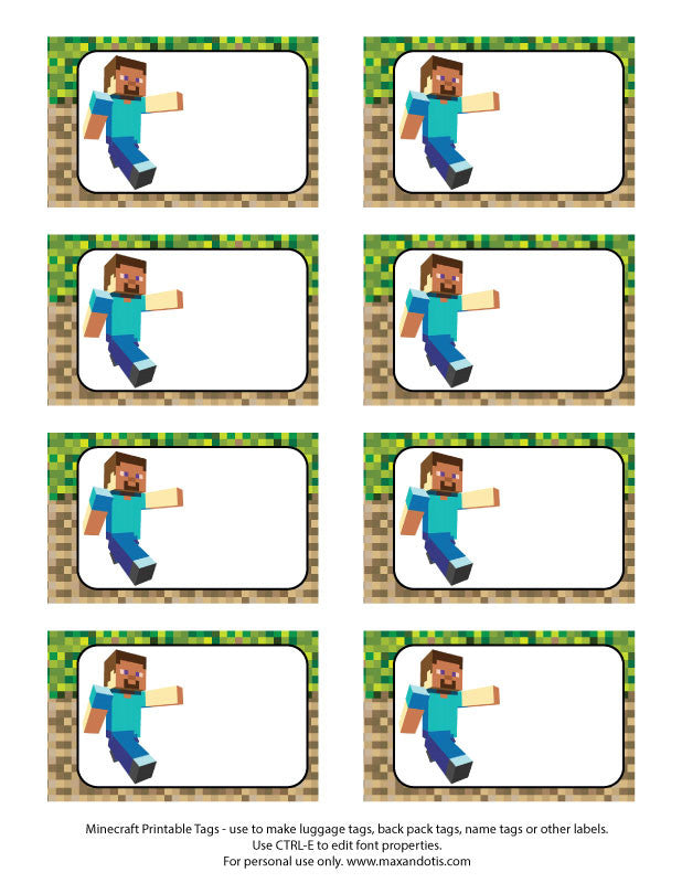 image about Minecraft Printable named Printable Rectangle Tags Labels - Minecraft (Editable PDF)