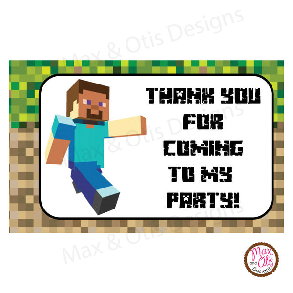 Printable  Rectangle Tags & Labels - Minecraft (Editable PDF) - Max & Otis Designs