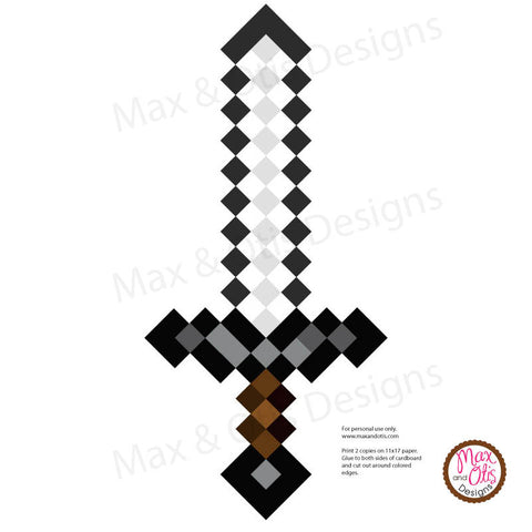 Minecraft Iron Sword Printable - Max & Otis Designs