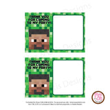 Printable Thank You Card - Minecraft Steve (editable PDF) - Max & Otis Designs
