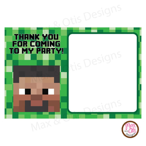Printable Thank You Card - Minecraft Steve (editable PDF)