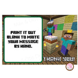 Printable Thank You Card - Minecraft Birthday (editable PDF) - Max & Otis Designs