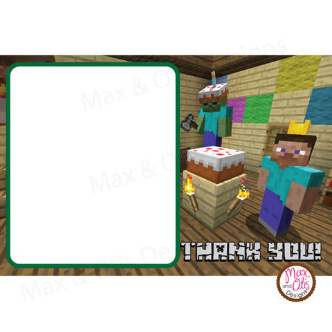 Printable Thank You Card - Minecraft Birthday (editable PDF)