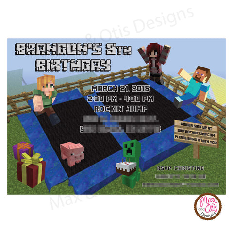 Minecraft Trampoline Party (Co-Ed) - Custom Invitation printable - Max & Otis Designs