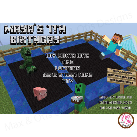 Minecraft Trampoline Party - Custom Invitation printable - Max & Otis Designs