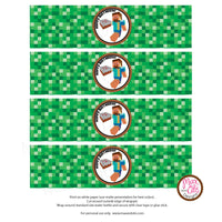 Printable Water Bottle Wrappers - Minecraft Steve (Editable PDF) - Max & Otis Designs