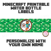 Printable Water Bottle Wrappers - Minecraft Steve (Editable PDF)