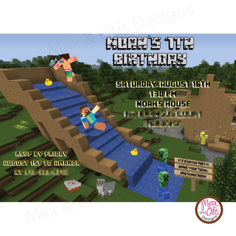 Minecraft Waterslide Party - Custom Invitation printable - Max & Otis Designs