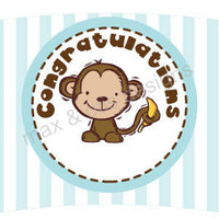 Printable Cupcake Wrappers - Congratulations Monkey (editable PDF)
