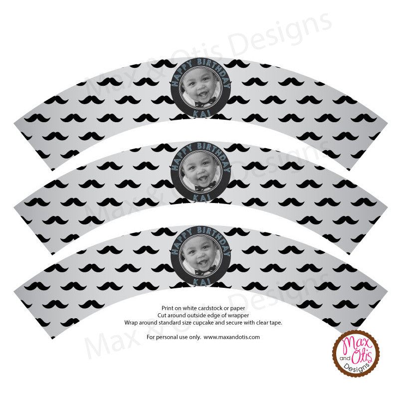 Printable Cupcake Wrappers - Photo Wrapper Mustache - Max & Otis Designs