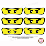 Printable Iron-On Transfer - Ninjago Eyes (Editable PDF) - Max & Otis Designs