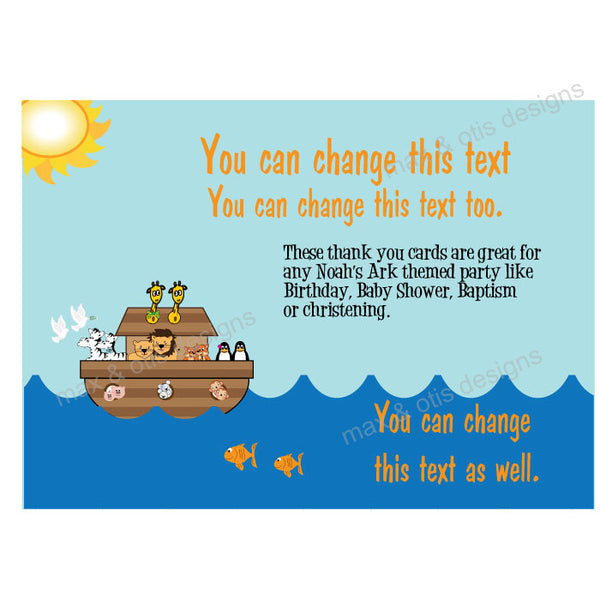 Printable Thank You Card - Noah's Ark  (editable PDF) - Max & Otis Designs