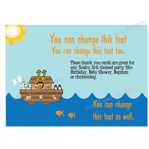 Printable Thank You Card - Noah's Ark  (editable PDF)