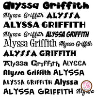 Custom Permanent Adhesive Vinyl - Name Decals (Half-sheet) - Max & Otis Designs