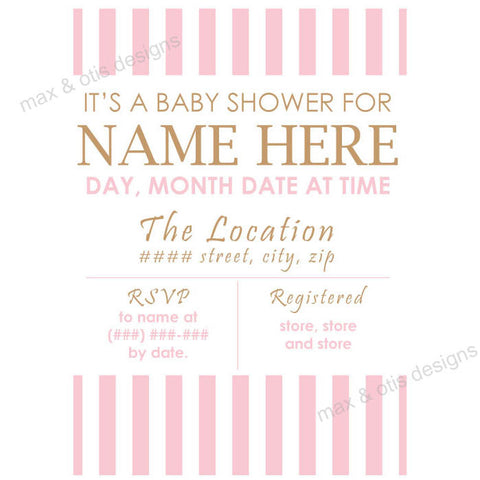 Baby Shower Invitation - Pink & White Stripe (editable PDF) - Max & Otis Designs
