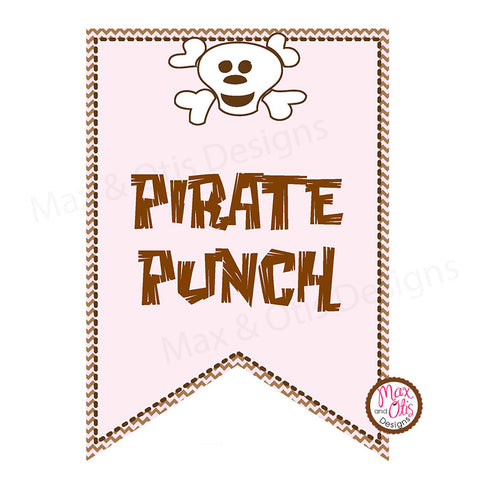Pirate (Pink) Printable Alphabet Banner - Editable PDF - Max & Otis Designs