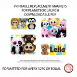 PlanetBox Launch Personalized Magnets - Beanie Boos - Max & Otis Designs