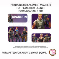 PlanetBox Launch Personalized Magnets - Fortnite - Max & Otis Designs