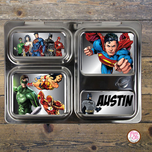 PlanetBox Launch Personalized Magnets - Justice League - Max & Otis Designs
