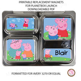 PlanetBox Launch Personalized Magnets - Peppa Pig - Max & Otis Designs