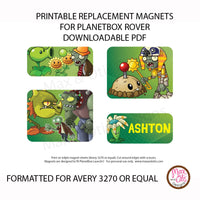 PlanetBox Launch Personalized Magnets - Plants vs. Zombies - Max & Otis Designs