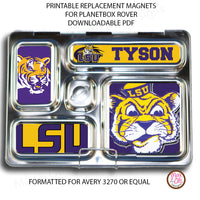 PlanetBox Rover Personalized Magnets - LSU Tigers - Max & Otis Designs