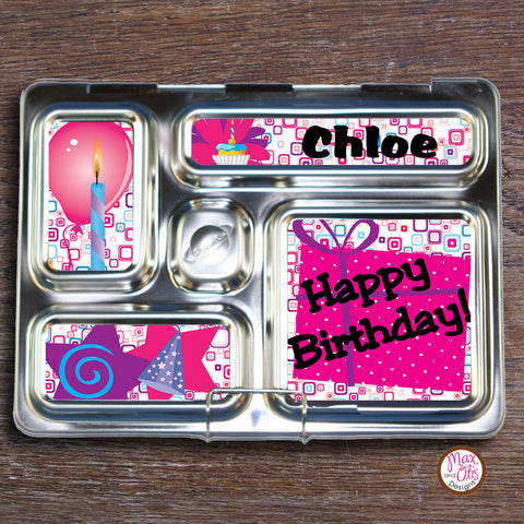 PlanetBox Rover Personalized Magnets - Happy Birthday (Pink) - Max & Otis Designs