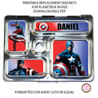 PlanetBox Rover Personalized Magnets - Captain America - Max & Otis Designs