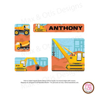 PlanetBox Rover Personalized Magnets - [Custom] Construction Trucks
