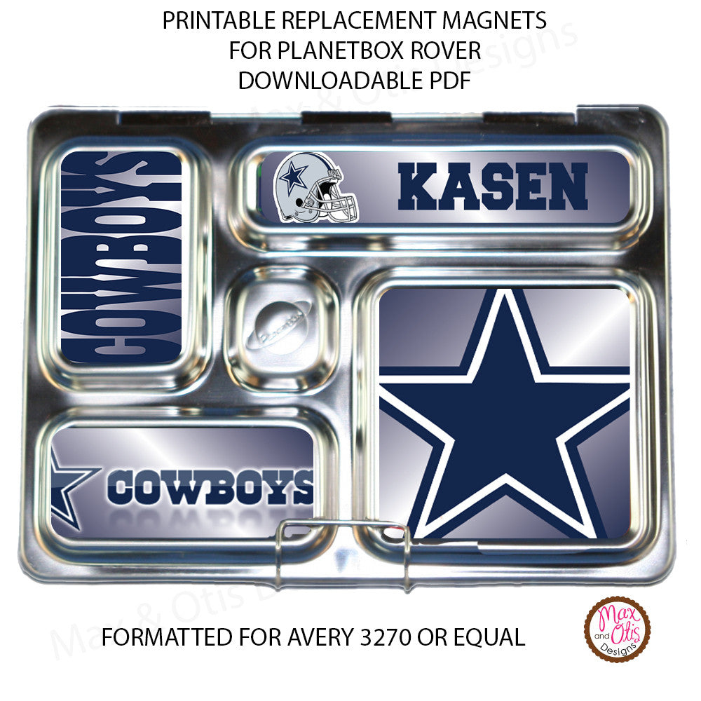 PlanetBox Rover Personalized Magnets - Dallas Cowboys - Max & Otis Designs