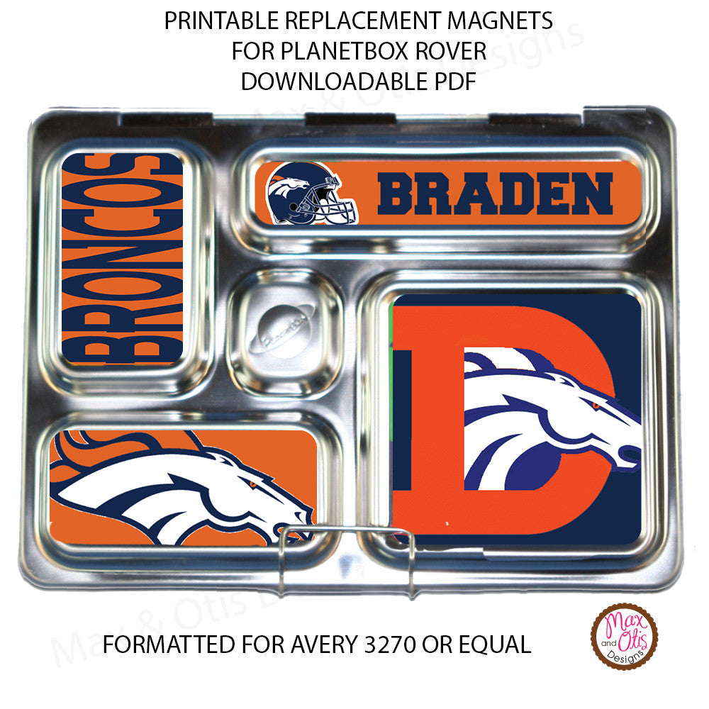 PlanetBox Rover Personalized Magnets - Denver Broncos - Max & Otis Designs