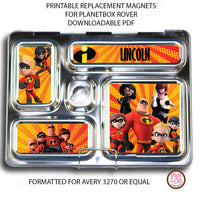 PlanetBox Rover Personalized Magnets - Disney Incredibles - Max & Otis Designs
