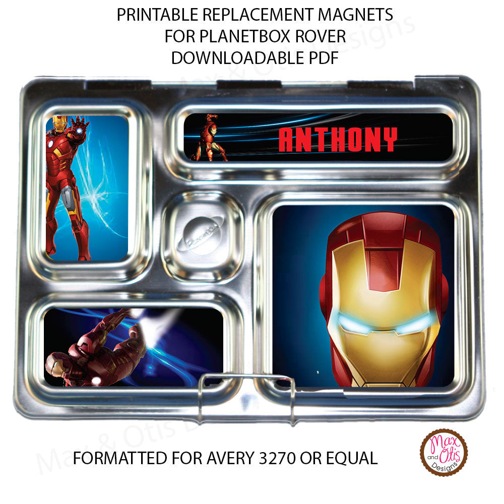 PlanetBox Rover Personalized Magnets - Iron Man - Max & Otis Designs