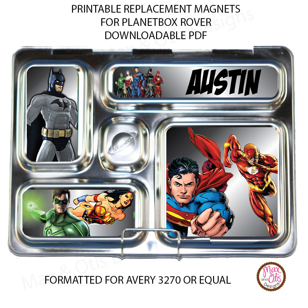 PlanetBox Rover Personalized Magnets - Justice League - Max & Otis Designs