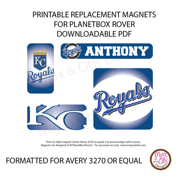 graphic relating to Kc Royals Schedule Printable called PlanetBox Rover Custom-made Magnets - Kansas Metropolis Royals