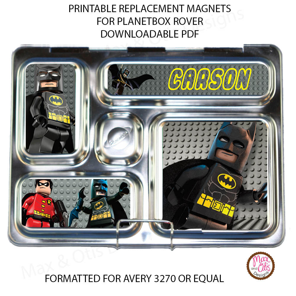PlanetBox Rover Personalized Magnets - Lego Batman - Max & Otis Designs