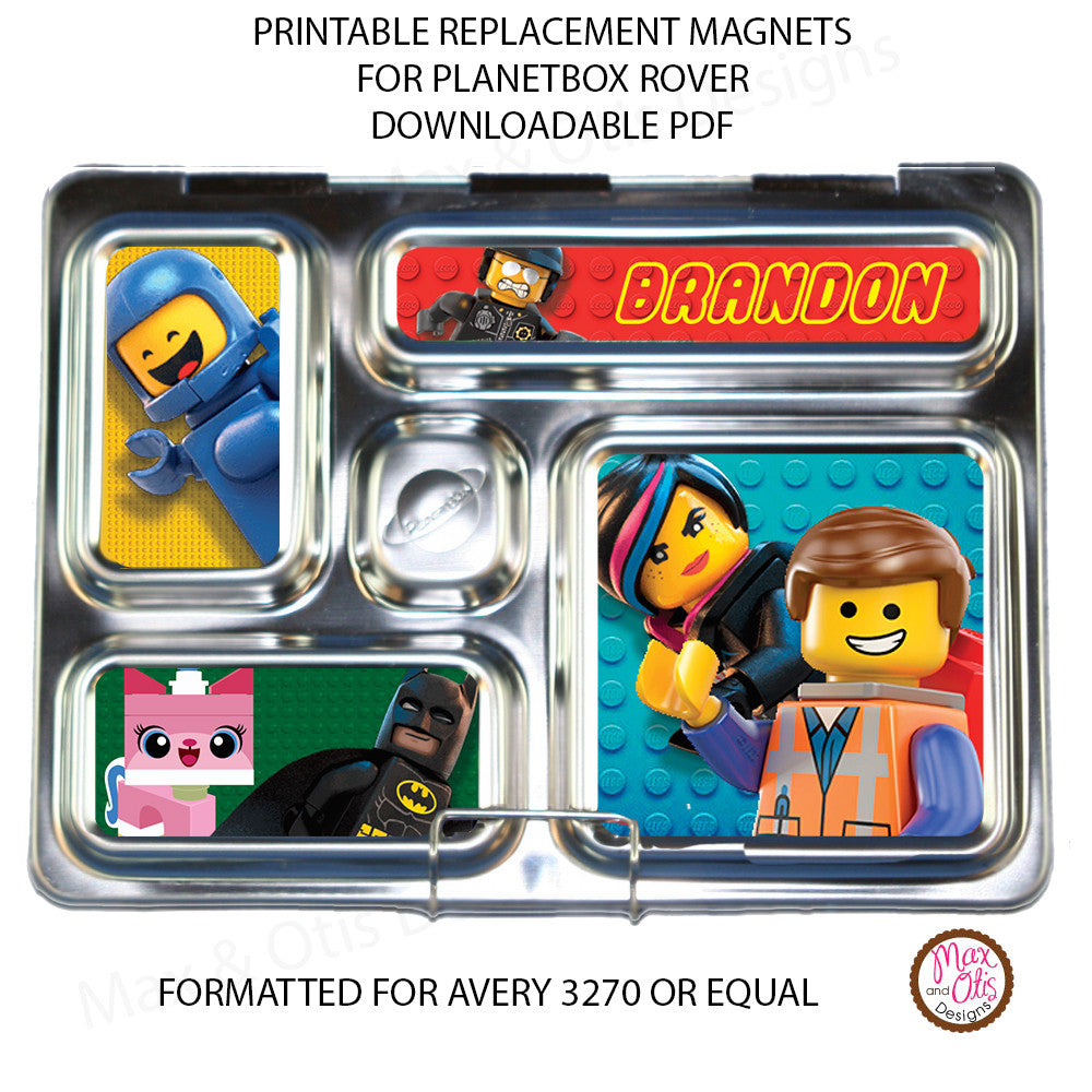 PlanetBox Rover Personalized Magnets - Lego Movie - Max & Otis Designs