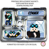 PlanetBox Rover Personalized Magnets - Minecraft Dan TDM - Max & Otis Designs