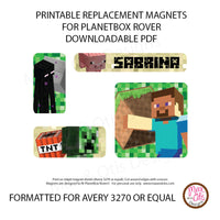 PlanetBox Rover Personalized Magnets - Minecraft - Max & Otis Designs