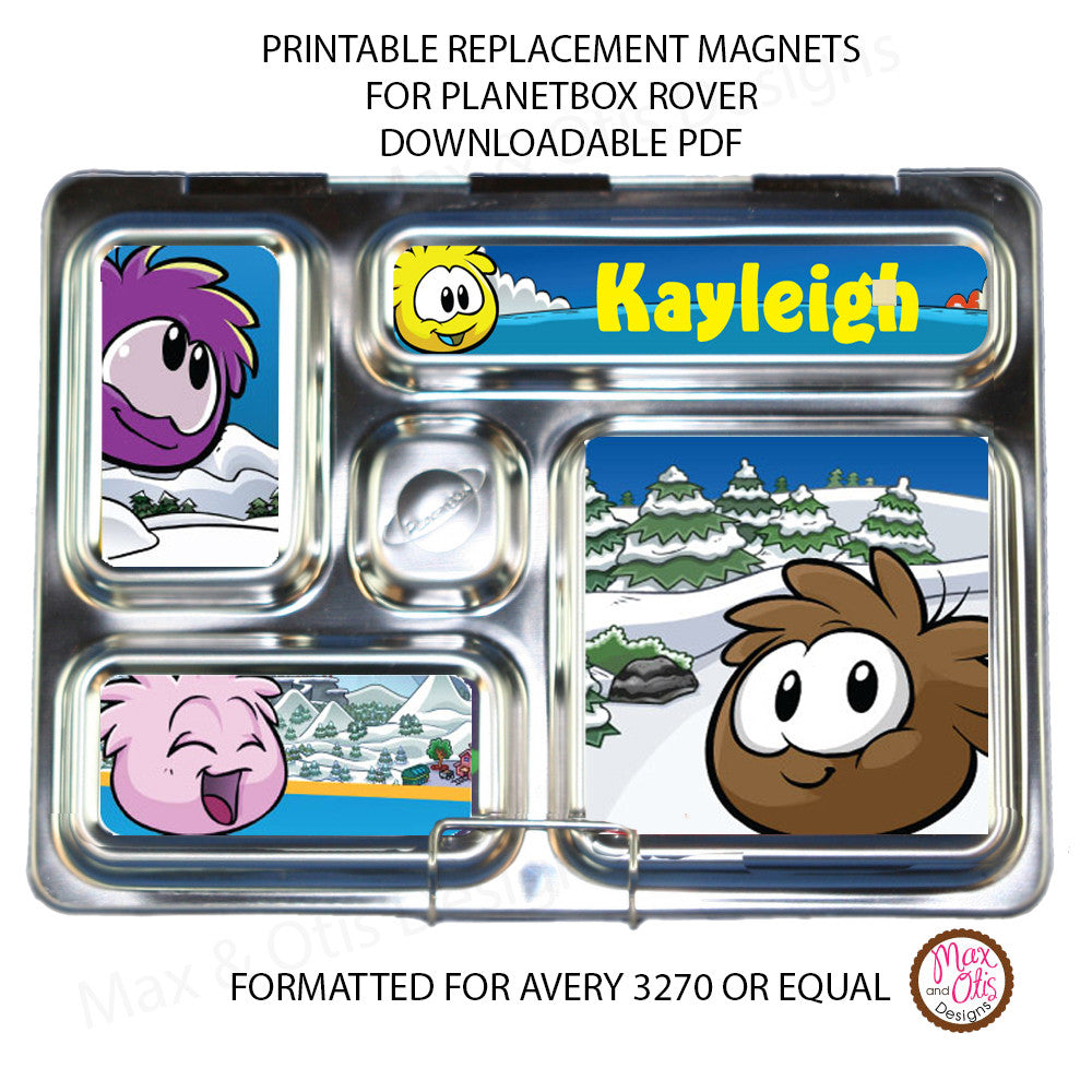 PlanetBox Rover Personalized Magnets - Club Penguin Puffins - Max & Otis Designs