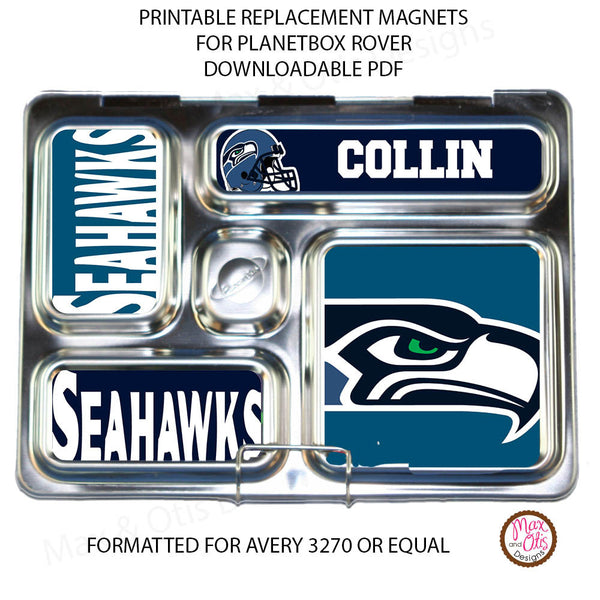 PlanetBox Rover Personalized Magnets - Seattle Seahawks - Max & Otis Designs