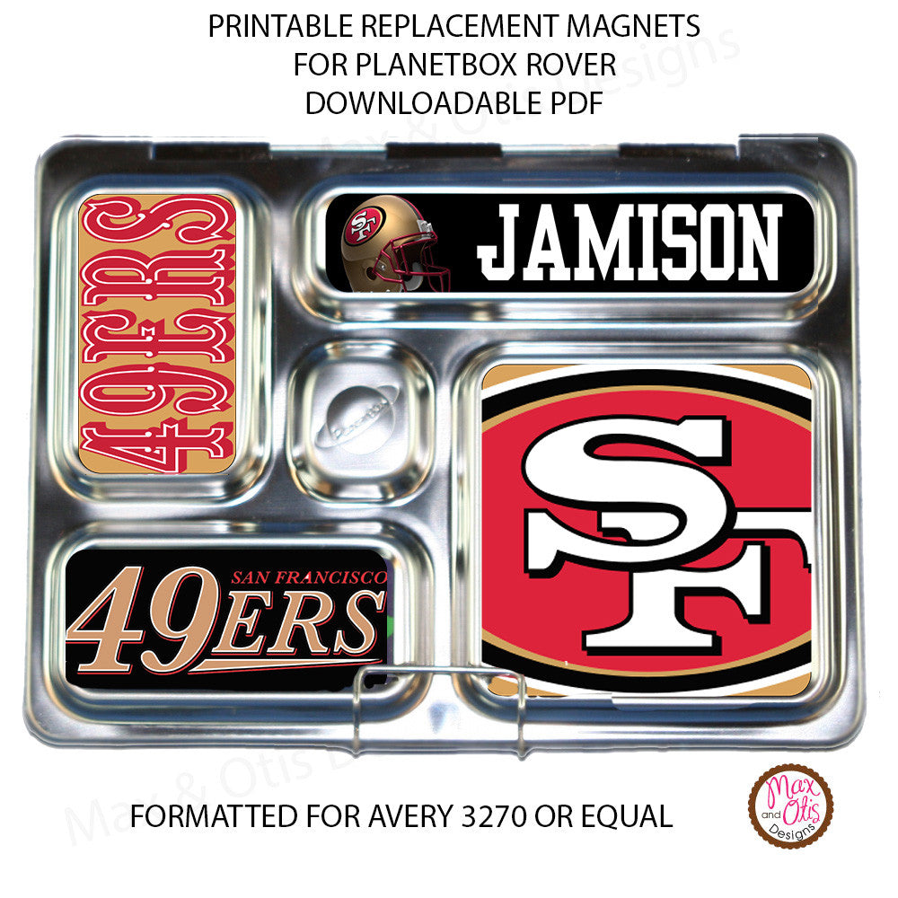 PlanetBox Rover Personalized Magnets - San Francisco 49ers - Max & Otis Designs