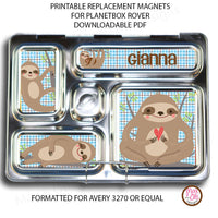 PlanetBox Rover Personalized Magnets - Sloth - Max & Otis Designs