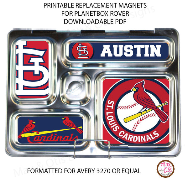 photo about St Louis Cardinals Printable Schedule titled PlanetBox Rover Tailored Magnets - St. Louis Cardinals