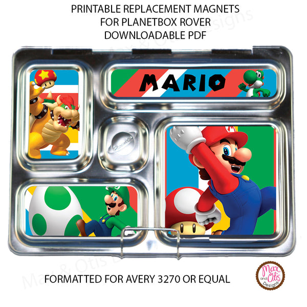 PlanetBox Rover Personalized Magnets - Super Mario Bros. - Max & Otis Designs