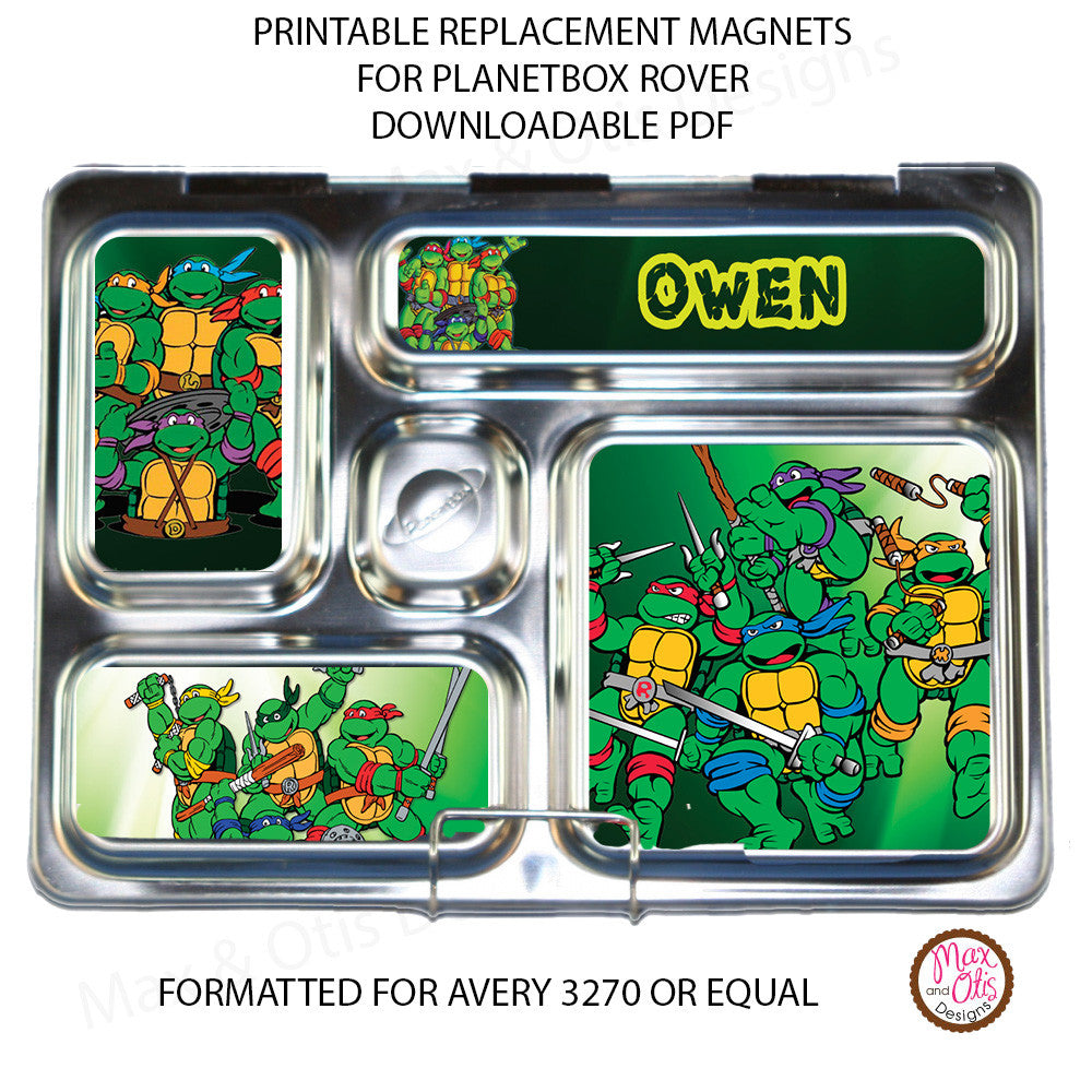 PlanetBox Rover Personalized Magnets - Teenage Mutant Ninja Turtles - Max & Otis Designs