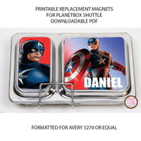 PlanetBox Shuttle Personalized Magnets - Captain America - Max & Otis Designs